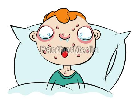 cute boy sick in bed