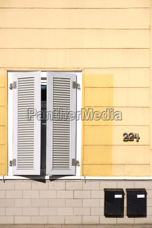 closed shutters residential building