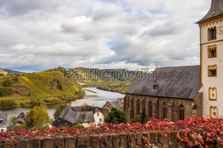 autumn moselle landscape in the