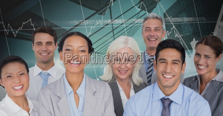 business team smiling and standing in