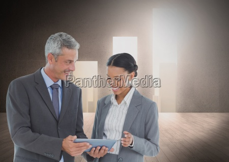composite image of business people standing