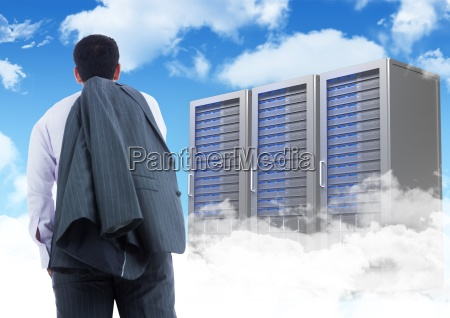 businessman standing looking at graphic against