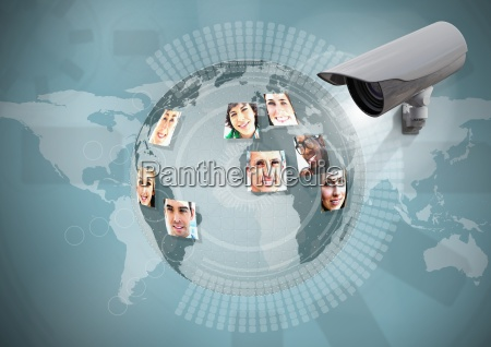 composite image of security camera against