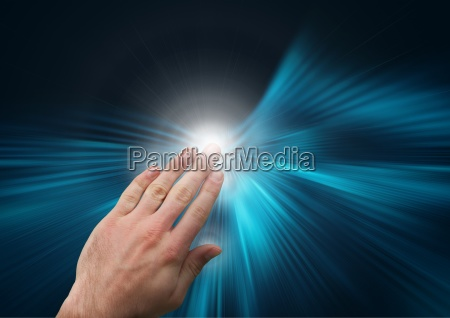 composite image of hand touching virtual