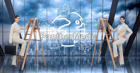composite image of business women on