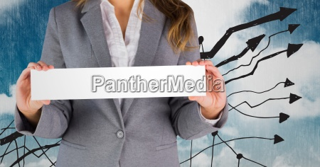 businesswoman holding a sign against a