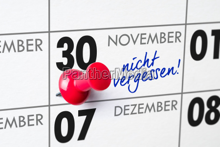 wall calendar november 30