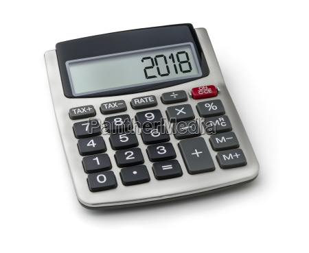 calculator with the word 2018 on
