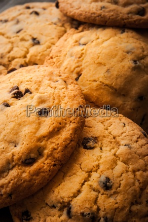 chocolate chip cookies with milk on