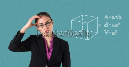 businesswoman suffering from headache by equations