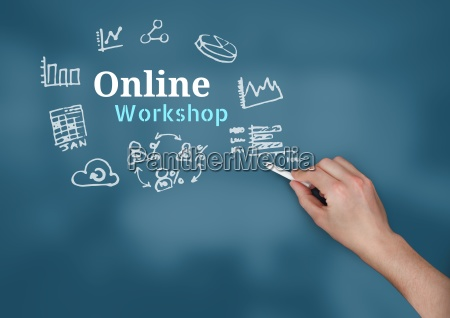 hand writing chalk with online workshop