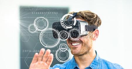 digital composite image of smiling man