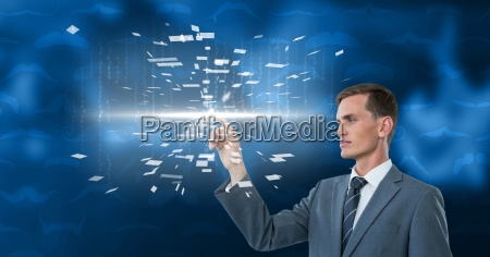 digitally generated image of businessman touching