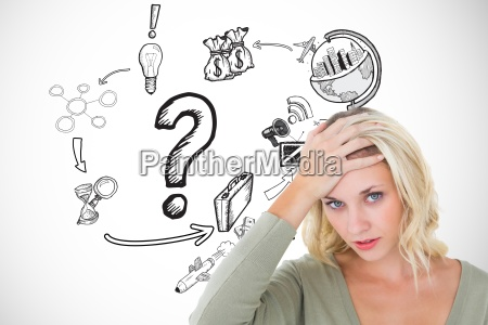 confused woman with hand on head
