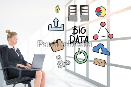 businesswoman analyzing big data on laptop