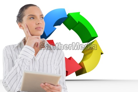 thoughtful businesswoman holding digital tablet against