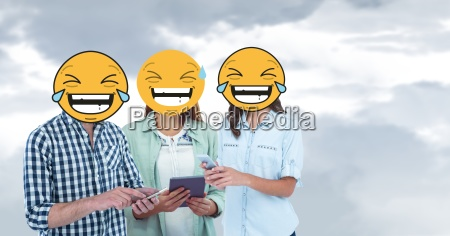 digital composite of friends with laughing