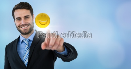 business man touching emoji and flare