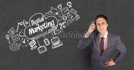 confused businessman with digital marketing text