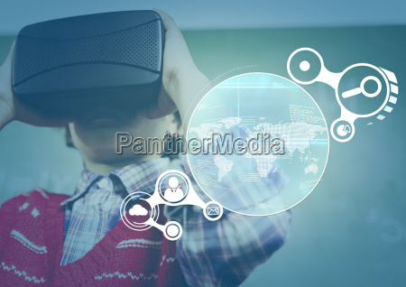 child wearing vr virtual reality headset