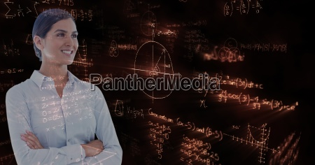 businesswoman standing arms crossed over math
