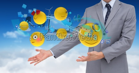 digital composite image of businessman by