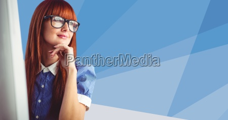 woman at computer against blue vector