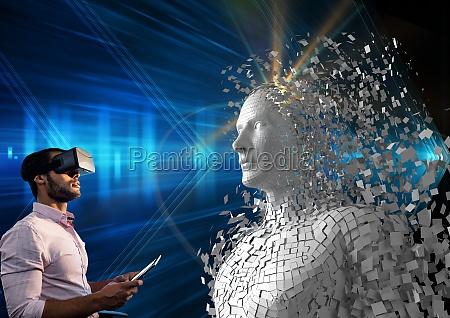 digital composite image of man using