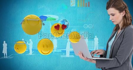 digital composite image of businesswoman using