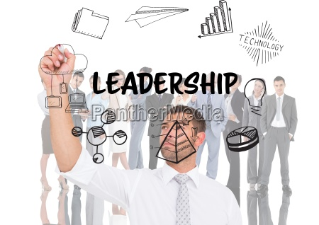 leadership graphic in front of business