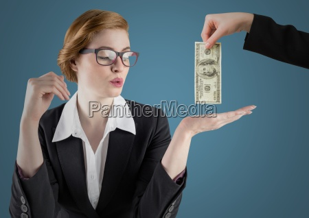 business woman with hand out and