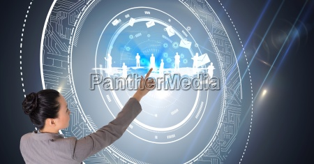 digital composite image of businesswoman touching