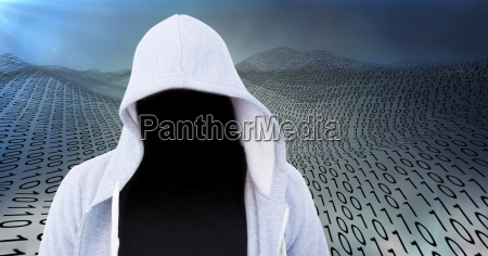 foreground of grey jumper hacker with