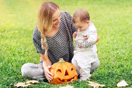 happy family celebrating halloween