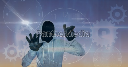 digital composite image of hacker touching