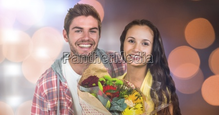 portrait of happy man by woman
