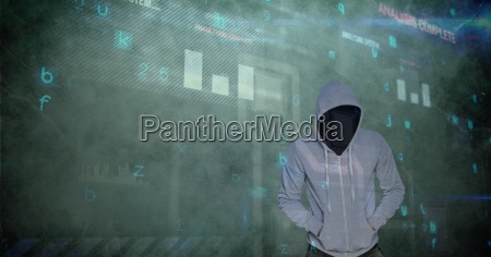 digital composite image of hacker and