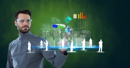 digital composite image of confident businessman