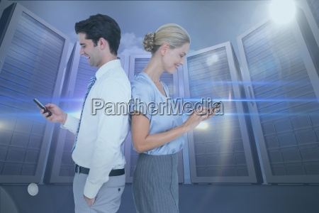 side view of business colleagues using