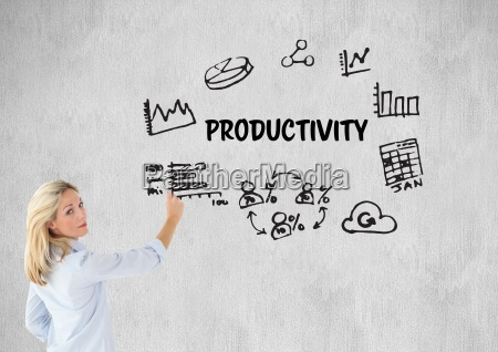 woman drawing a graphic about productivity