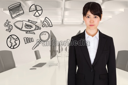 digitally generated image of businesswoman standing