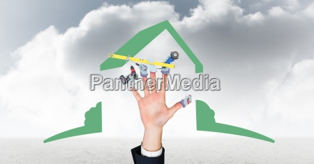 digital composite image of hand with