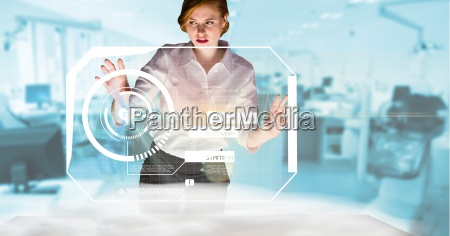 digitally generated image of businesswoman touching