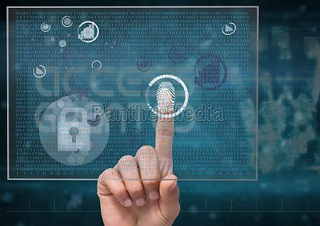 fingerprint scan in a futuristic screen