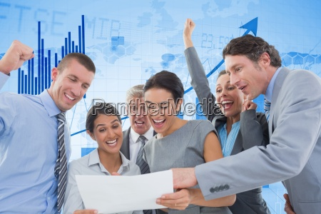 digitally generated image of cheerful business