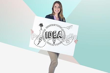 businesswoman holding bill board with idea