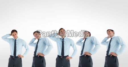 multiple image of confused businessman against