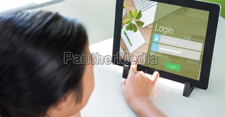 person touching log in page on