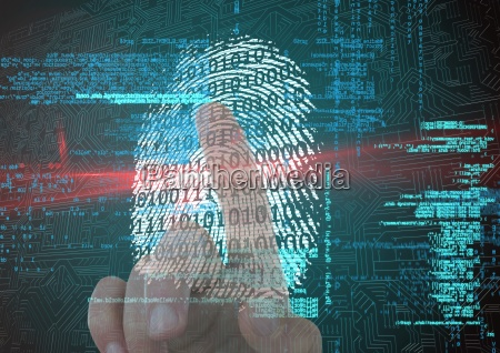 fingerprint scan with binary code and