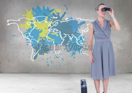 businesswoman looking through binoculars with colorful